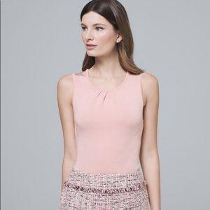WHBM Pleated Neck Sweater Tank Blush Pink